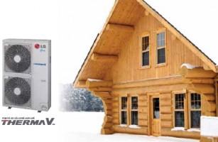 Pompa de caldura aer-apa Pompa de caldura aer-apa THERMA V a fost special  conceputa pentru a raspunde cerintelor pietei de renovare (pentru a  inlocui sau a elimina un cazan) si pentru piata de locuinte noi.  Produsul se adapteaza perfect la aplicatii rezidentiale individuale si  colective. Mai mult, aceasta pompa de caldura aer-apa reprezinta un  produs ecologic care utilizeaza doua surse de energie regenerabila,  aerul si soarele.