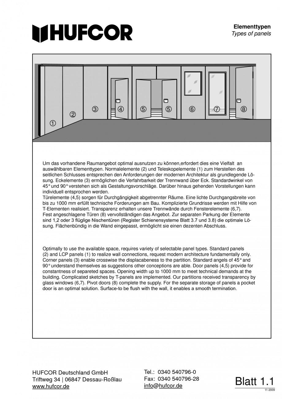 Pagina 2 - Pereti amovibili HUFCOR Fisa tehnica Engleza, Germana am Bau. Komplizierte Grundrisse...