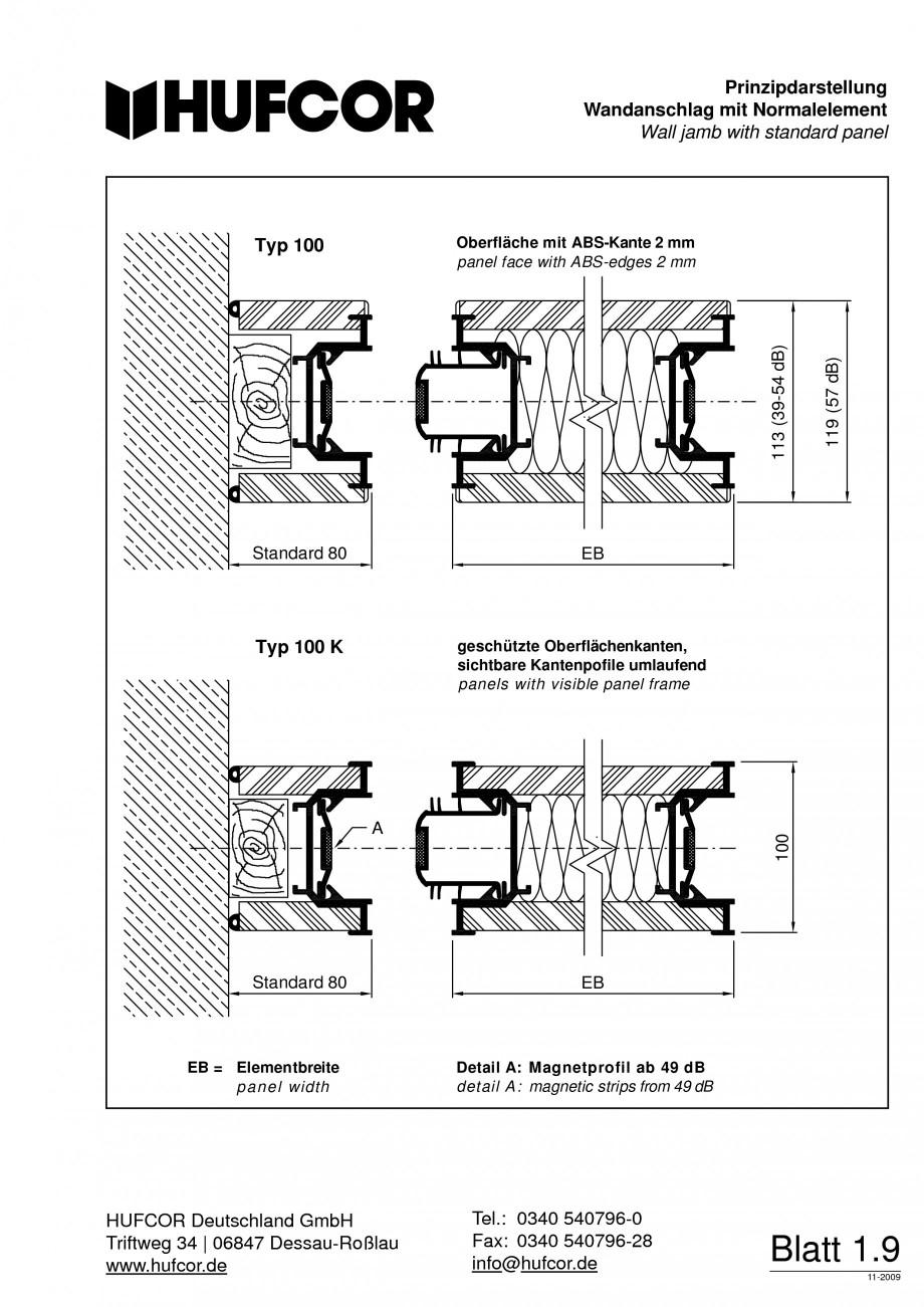 Pagina 10 - Pereti amovibili HUFCOR Fisa tehnica Engleza, Germana ertikalschnitt,...