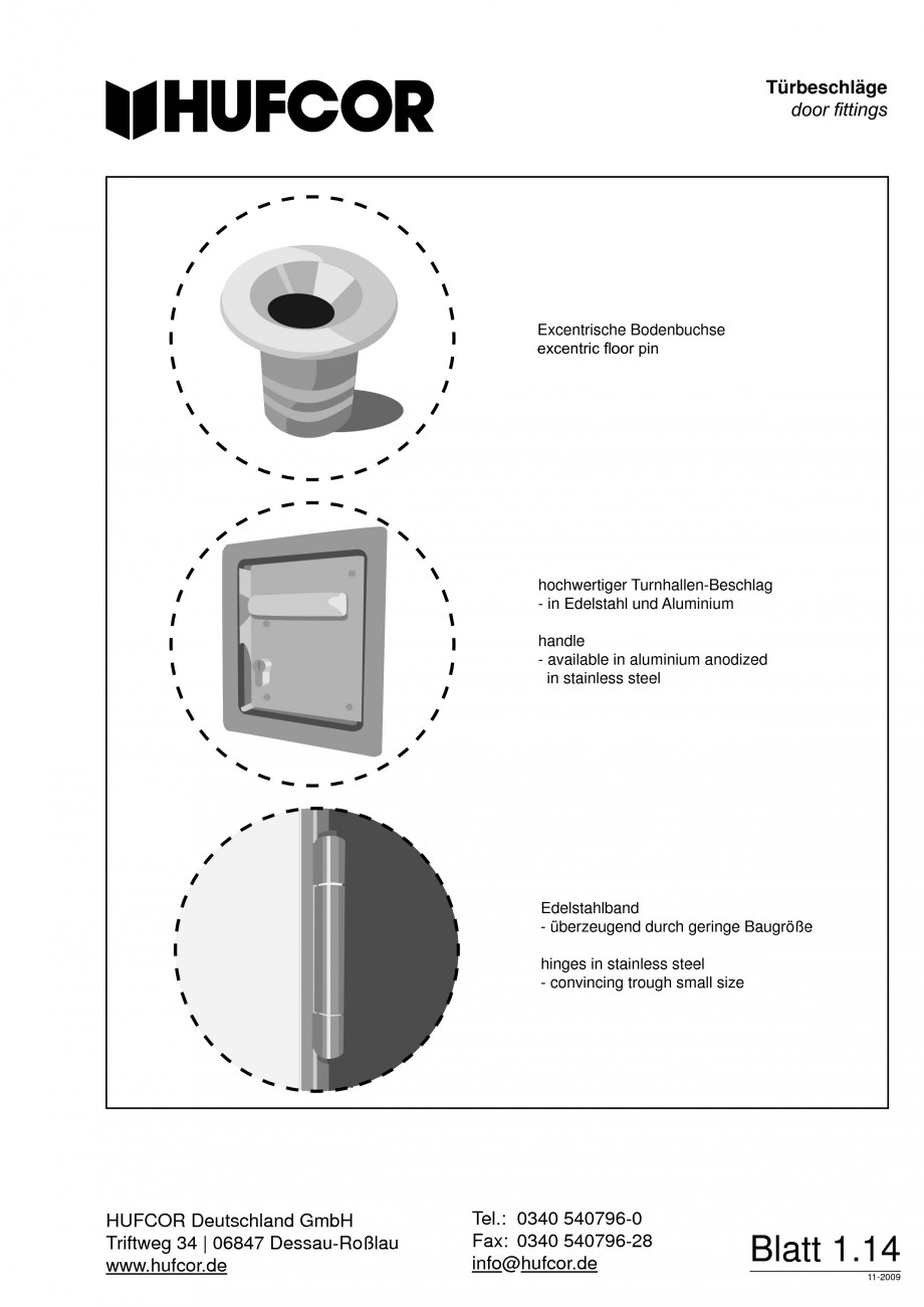 Pagina 15 - Pereti amovibili HUFCOR Fisa tehnica Engleza, Germana 40 540796-0 Tel.: +49 0340 07 96-0...