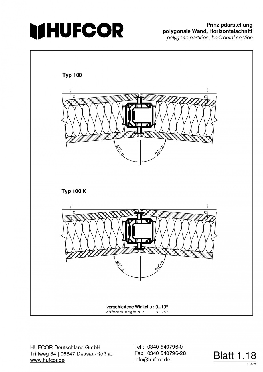 Pagina 19 - Pereti amovibili HUFCOR Fisa tehnica Engleza, Germana  Fax: +49 3 40 54 07 96-28...