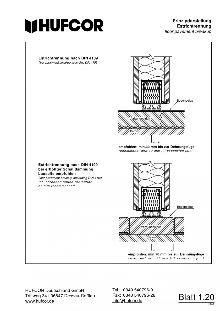 Pagina 21 - Pereti amovibili HUFCOR Fisa tehnica Engleza, Germana kontakt Magnetschaltkontakt...