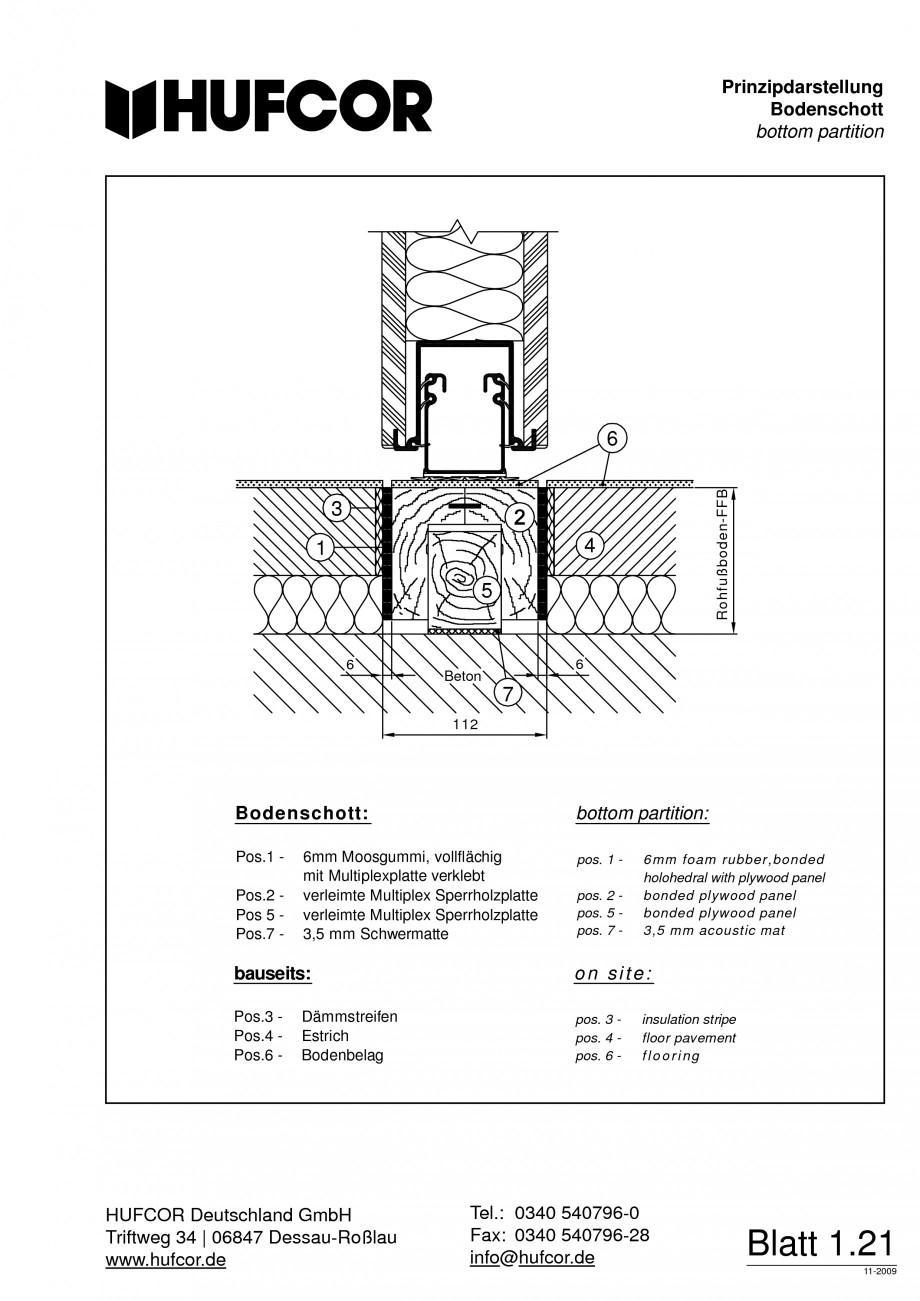 Pagina 22 - Pereti amovibili HUFCOR Fisa tehnica Engleza, Germana 20 mm working temperature: -25°C ...