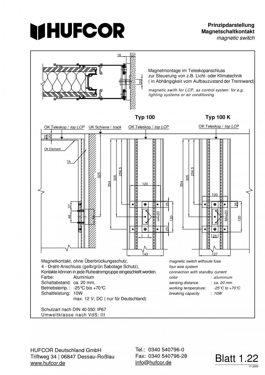 Pagina 23 - Pereti amovibili HUFCOR Fisa tehnica Engleza, Germana utschland GmbH Triftweg 34...