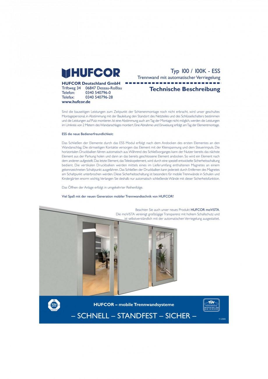 Pagina 33 - Pereti amovibili HUFCOR Fisa tehnica Engleza, Germana opelement, wird durch eine...