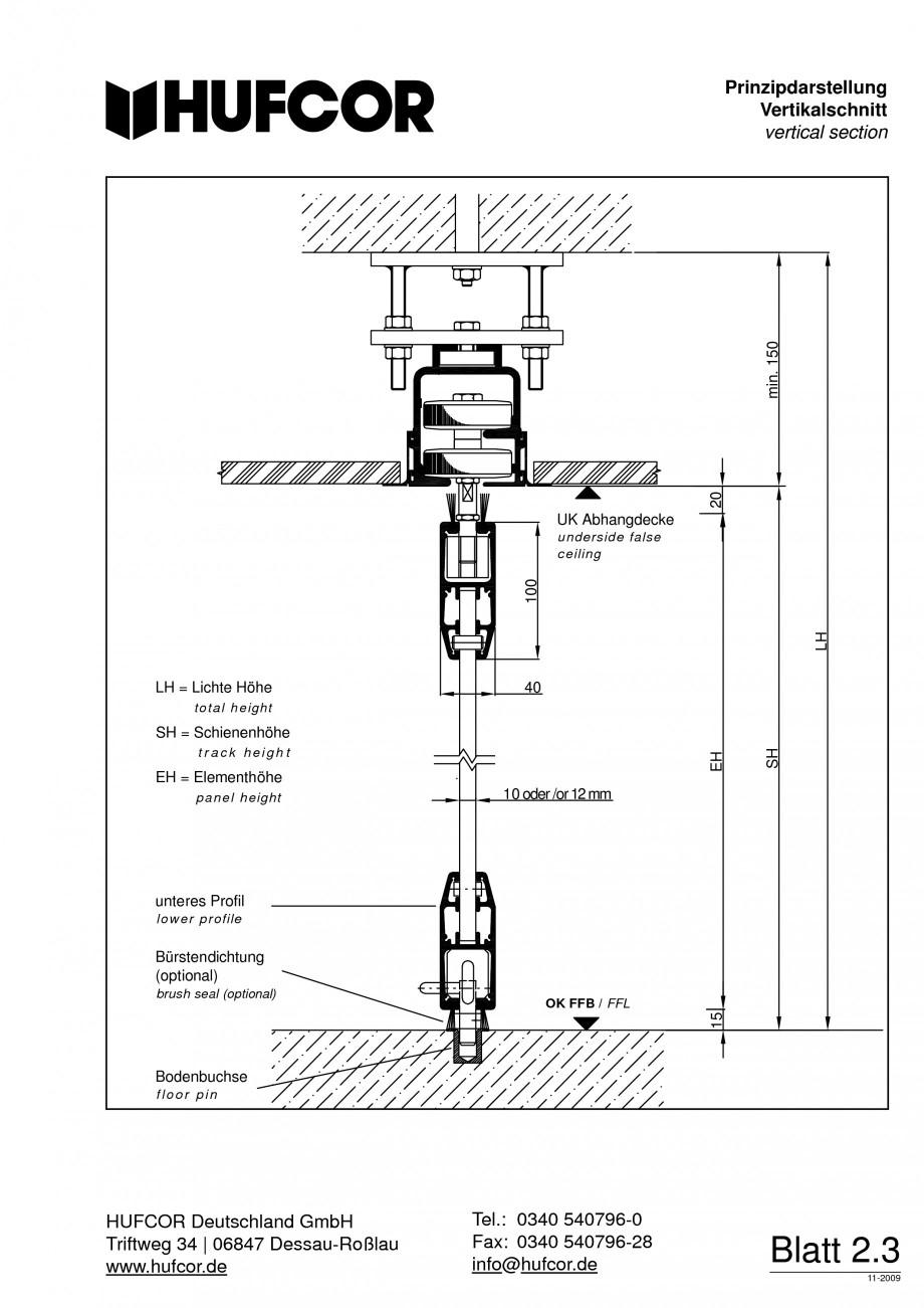 Pagina 47 - Pereti amovibili HUFCOR Fisa tehnica Engleza, Germana   Prinzipdarstellung...