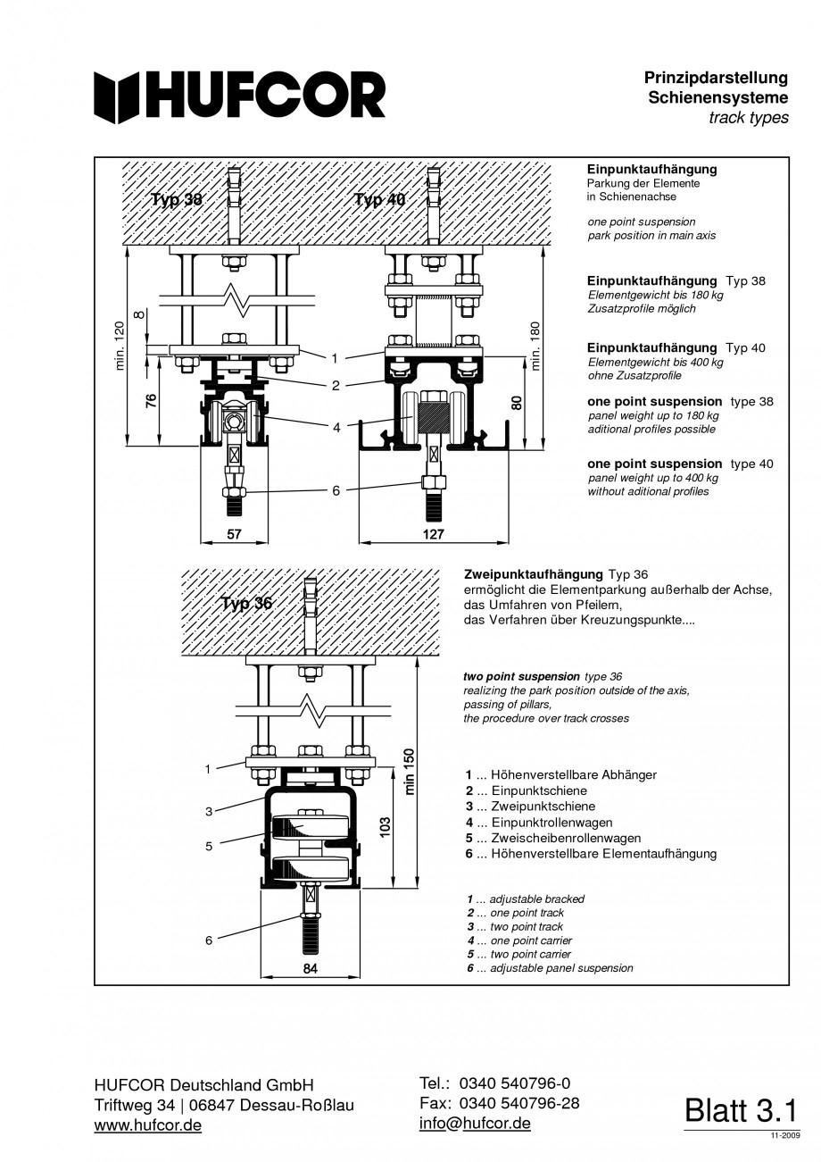 Pagina 58 - Pereti amovibili HUFCOR Fisa tehnica Engleza, Germana of sound value  Typ 1  Typ 2L  Typ...