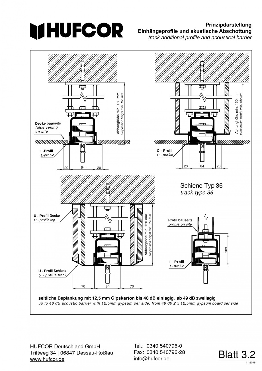 Pagina 59 - Pereti amovibili HUFCOR Fisa tehnica Engleza, Germana 540796-0 info@hufcor.de  Blatt 3.8...