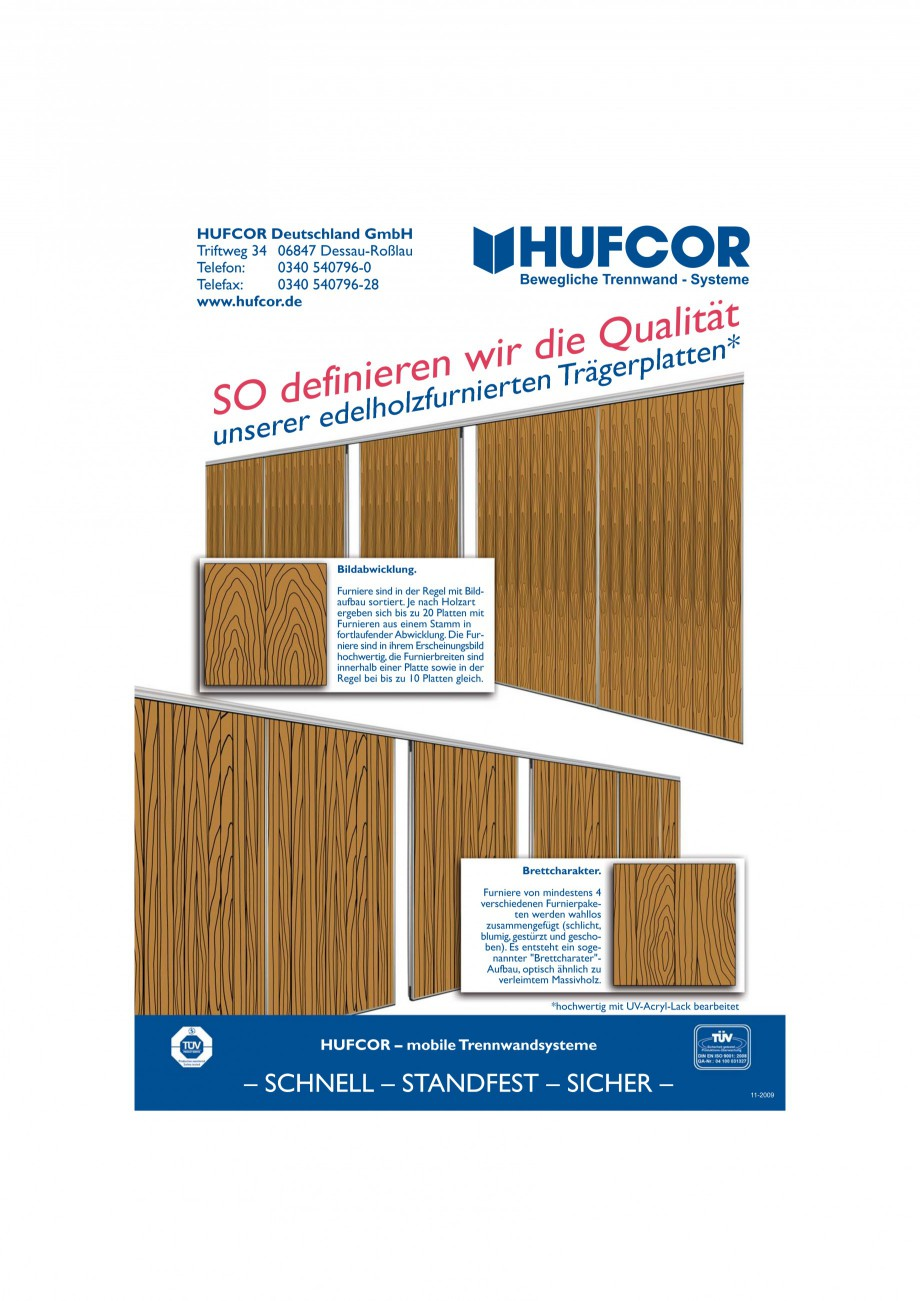 Pagina 69 - Pereti amovibili HUFCOR Fisa tehnica Engleza, Germana mittel nur gelegentlich benutzen! ...