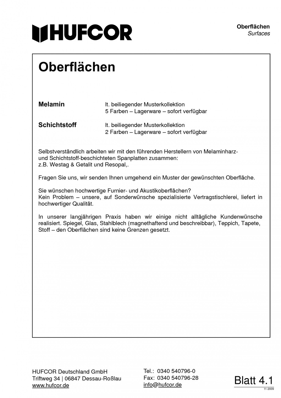 Pagina 70 - Pereti amovibili HUFCOR Fisa tehnica Engleza, Germana � Stoffe  Vermeiden Sie Kratzer,...