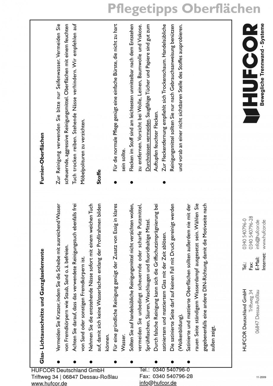 Pagina 76 - Pereti amovibili HUFCOR Fisa tehnica Engleza, Germana luss zwischen den Elementen....