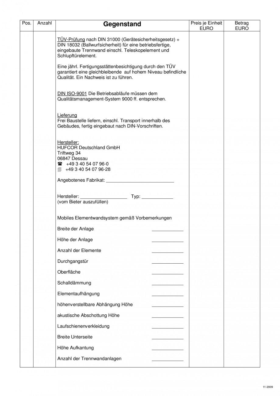Pagina 104 - Pereti amovibili HUFCOR Fisa tehnica Engleza, Germana