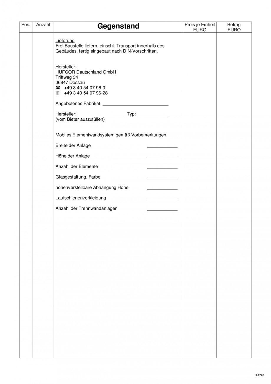 Pagina 107 - Pereti amovibili HUFCOR Fisa tehnica Engleza, Germana