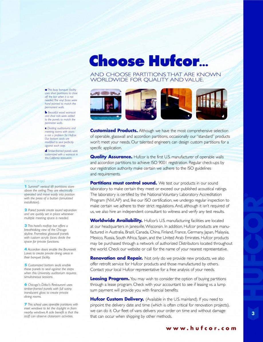 Pagina 3 - Caracteristicile tehnice pentru peretii amovibili  HUFCOR Fisa tehnica Engleza uarters in...