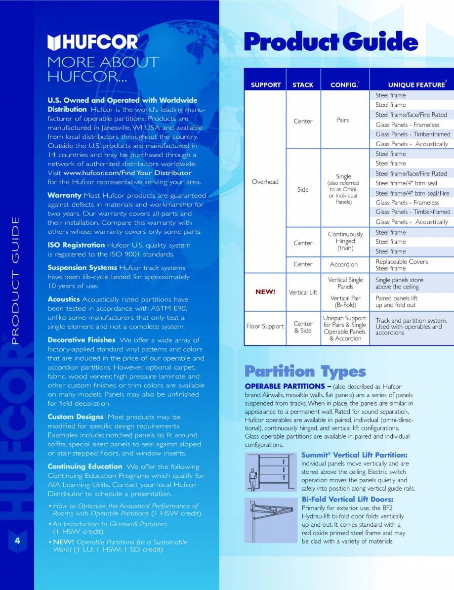 Pagina 4 - Caracteristicile tehnice pentru peretii amovibili  HUFCOR Fisa tehnica Engleza an do it. ...