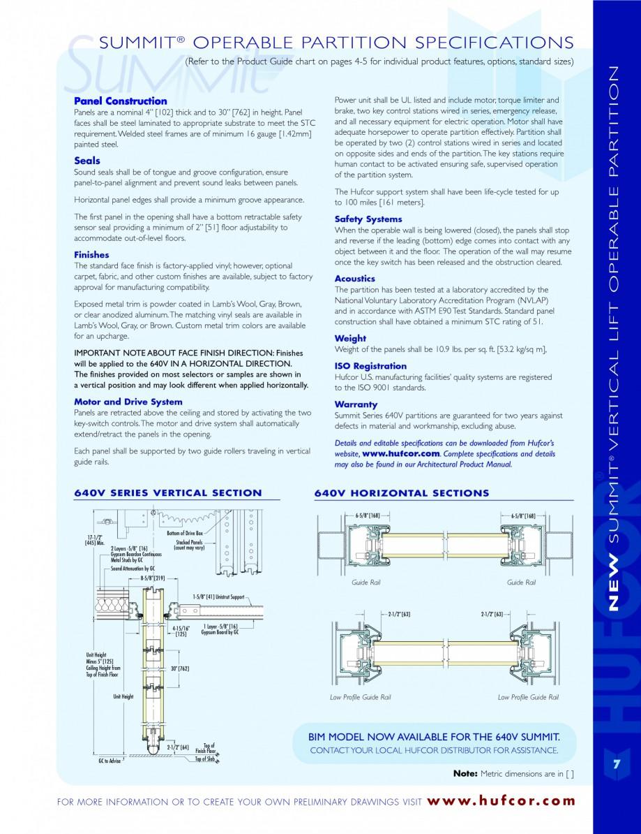 Pagina 7 - Caracteristicile tehnice pentru peretii amovibili  HUFCOR Fisa tehnica Engleza � How to...