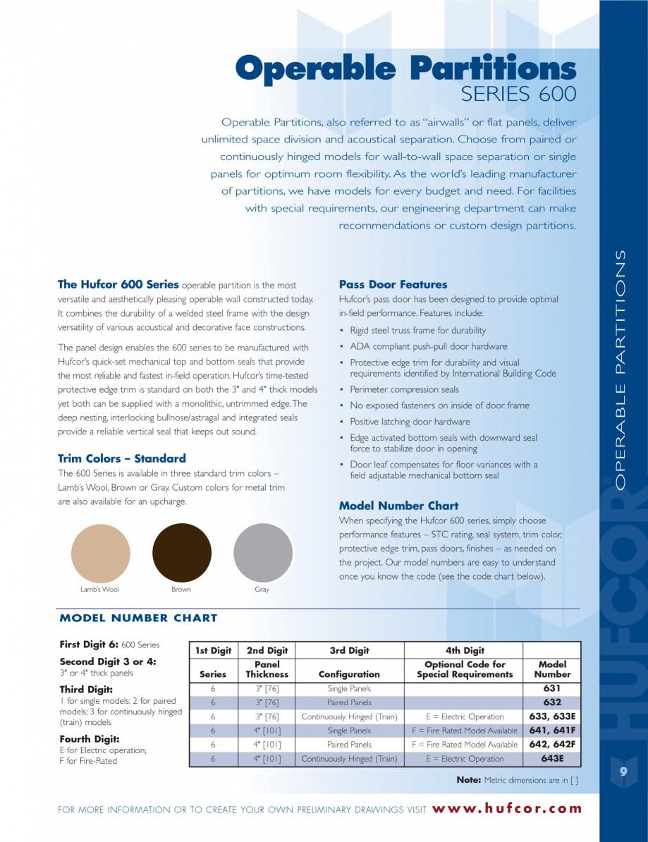 Pagina 9 - Caracteristicile tehnice pentru peretii amovibili  HUFCOR Fisa tehnica Engleza (1 lU; 1...