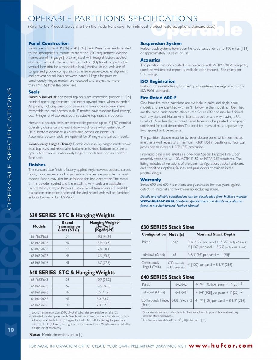 Pagina 10 - Caracteristicile tehnice pentru peretii amovibili  HUFCOR Fisa tehnica Engleza ssistance...