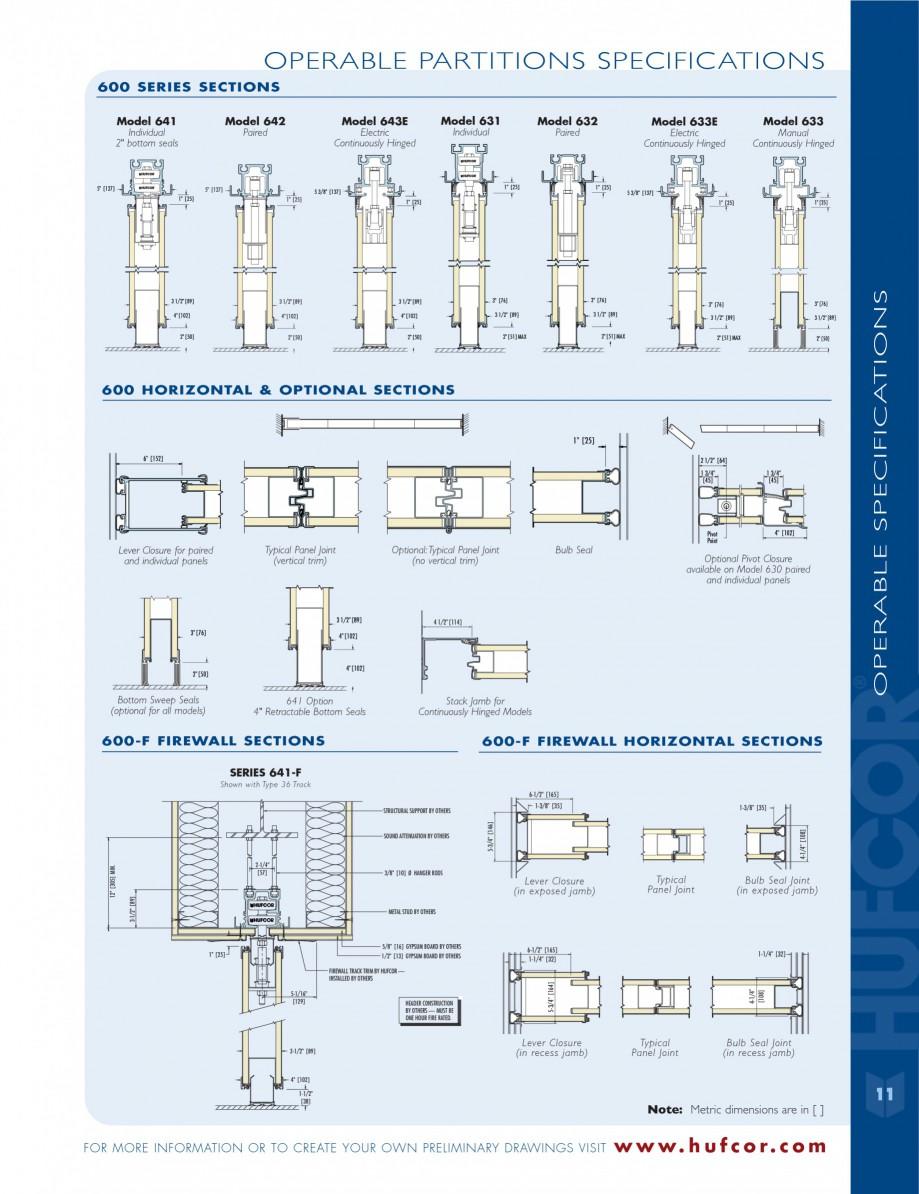 Pagina 11 - Caracteristicile tehnice pentru peretii amovibili  HUFCOR Fisa tehnica Engleza lows the ...