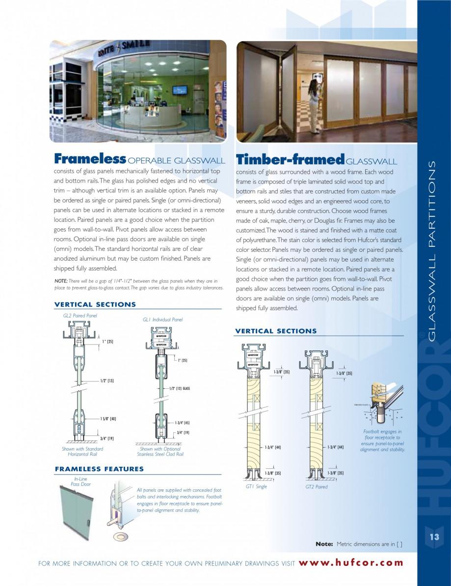 Pagina 13 - Caracteristicile tehnice pentru peretii amovibili  HUFCOR Fisa tehnica Engleza ce makes ...