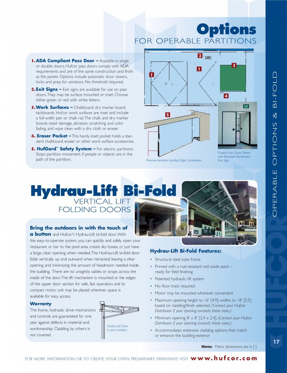 Pagina 17 - Caracteristicile tehnice pentru peretii amovibili  HUFCOR Fisa tehnica Engleza  if the...