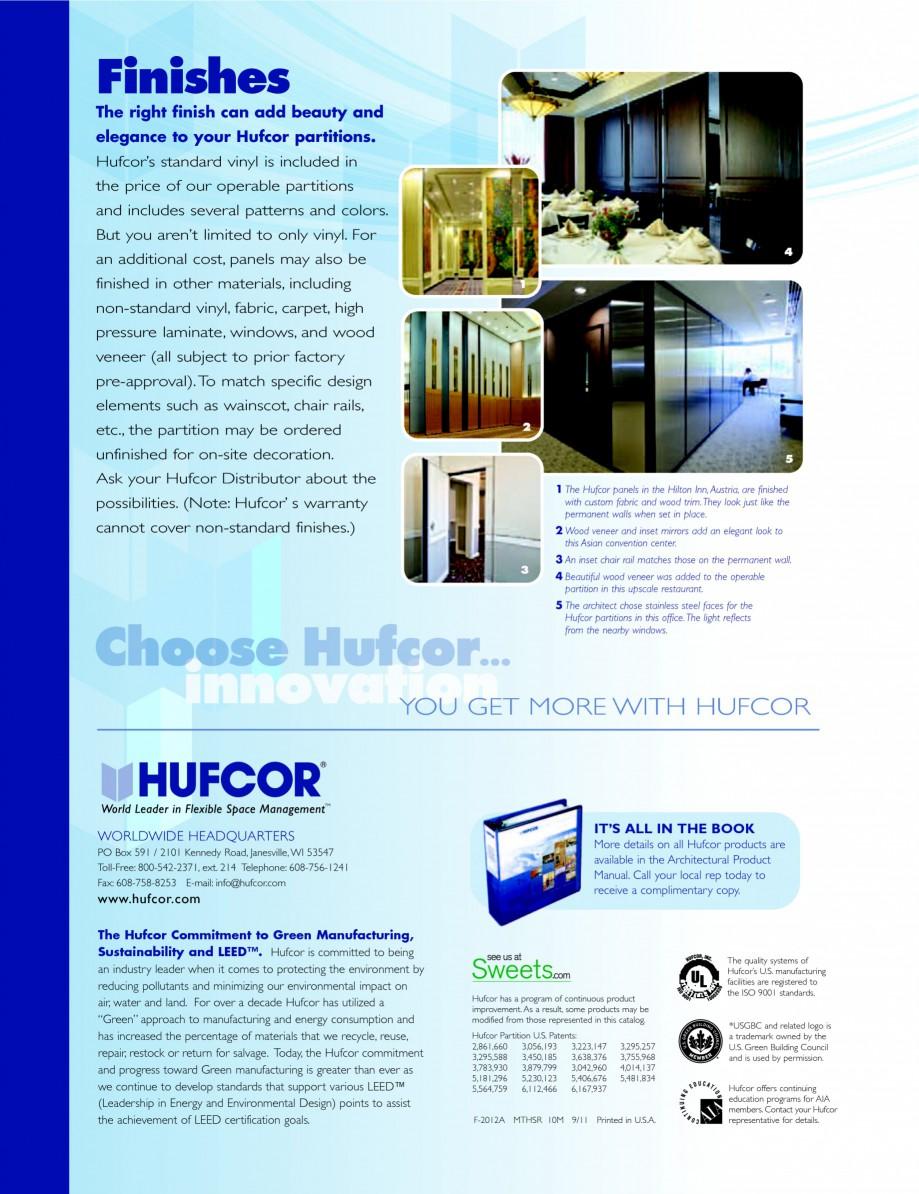 Pagina 20 - Caracteristicile tehnice pentru peretii amovibili  HUFCOR Fisa tehnica Engleza WN...
