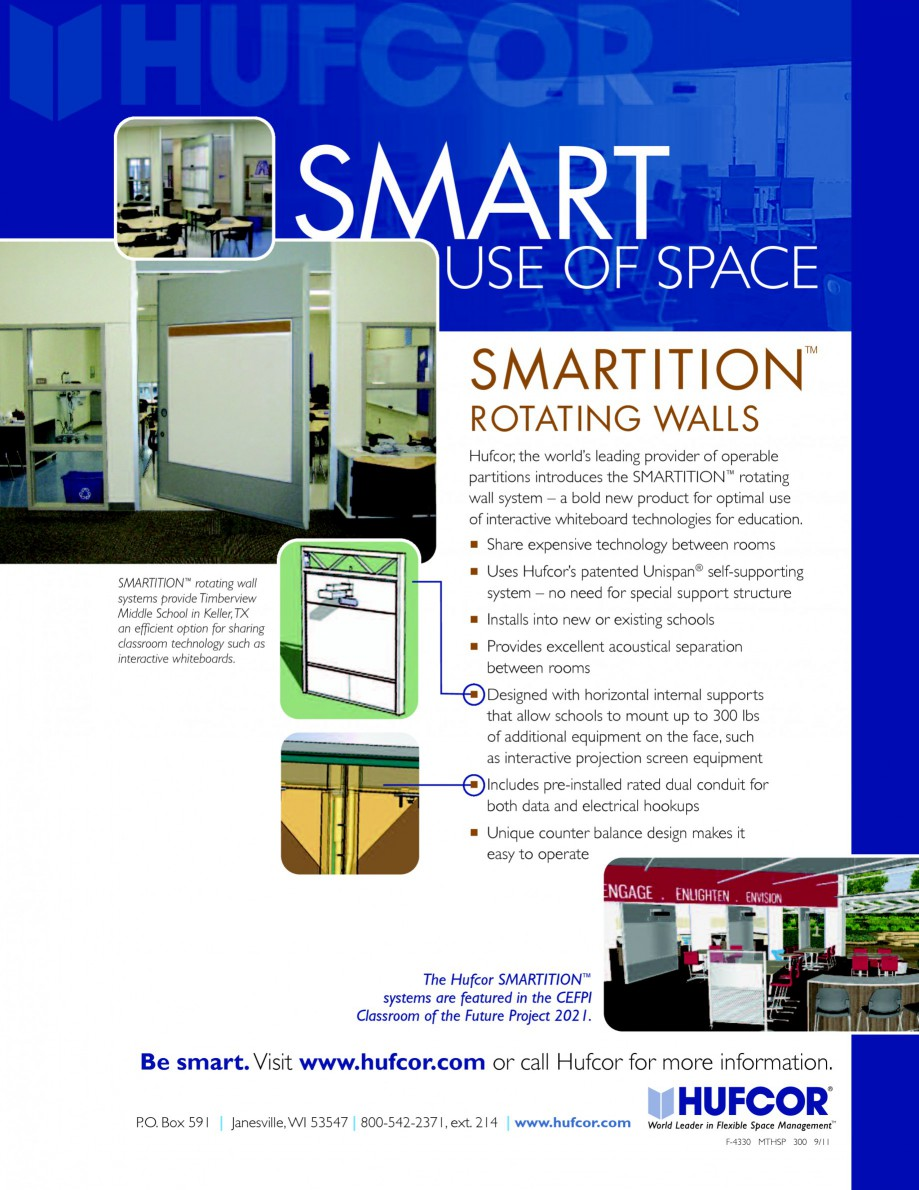 Pagina 1 - Pereti amovibili rotativi HUFCOR Catalog, brosura Engleza SMARTSPACE USE OF ™ ...