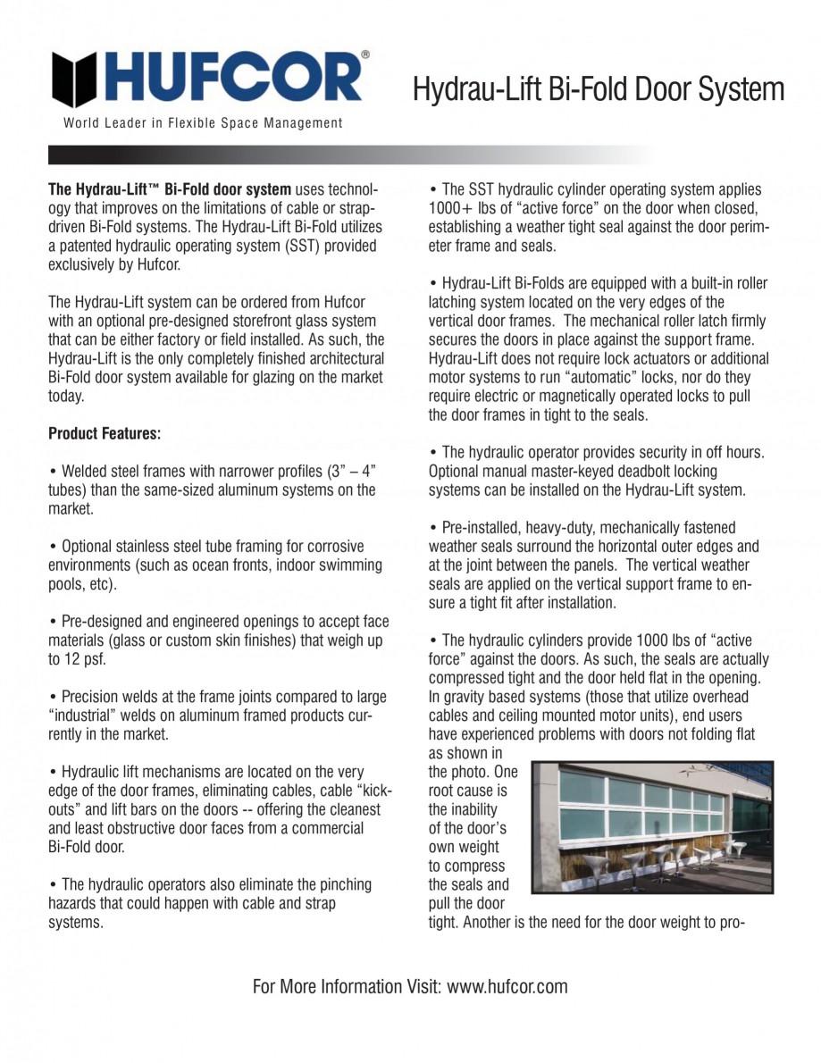 Pagina 2 - Pereti amovibili -prezentarea sistemului Hydrau Lift  HUFCOR Catalog, brosura Engleza...