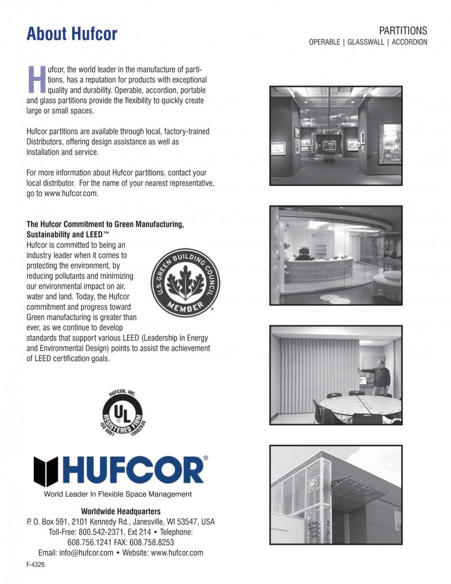 Pagina 4 - Pereti amovibili -prezentarea sistemului Hydrau Lift  HUFCOR Catalog, brosura Engleza s...