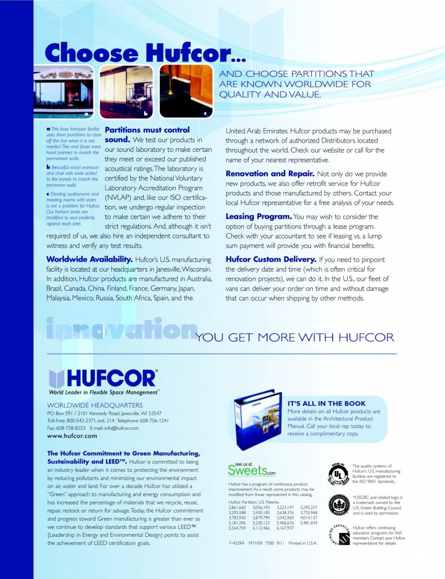 Pagina 4 - Pereti amovibili - prezentarea compartimentarilor HUFCOR Catalog, brosura Engleza he...