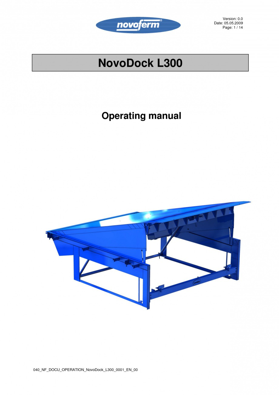 Pagina 1 - Rampe de incarcare, descarcare - Manual de operare NOVOFERM NovoDock L300 Instructiuni...
