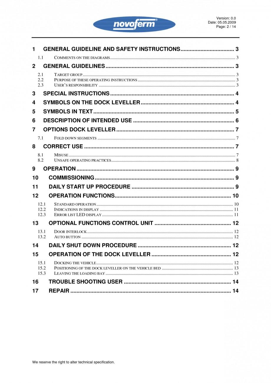 Pagina 2 - Rampe de incarcare, descarcare - Manual de operare NOVOFERM NovoDock L300 Instructiuni...