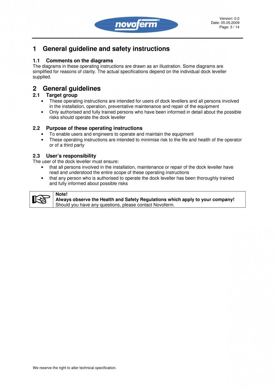 Pagina 3 - Rampe de incarcare, descarcare - Manual de operare NOVOFERM NovoDock L300 Instructiuni...