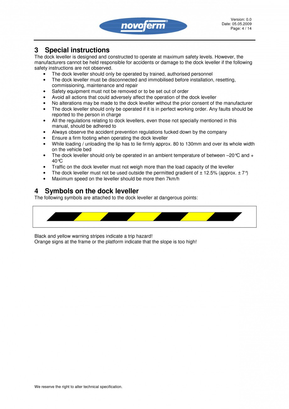 Pagina 4 - Rampe de incarcare, descarcare - Manual de operare NOVOFERM NovoDock L300 Instructiuni...