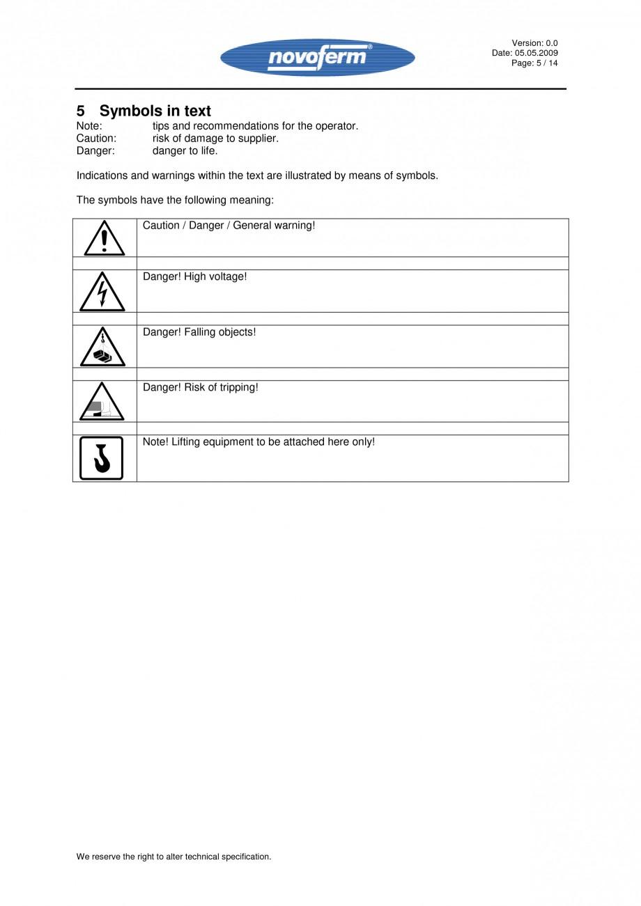 Pagina 5 - Rampe de incarcare, descarcare - Manual de operare NOVOFERM NovoDock L300 Instructiuni...