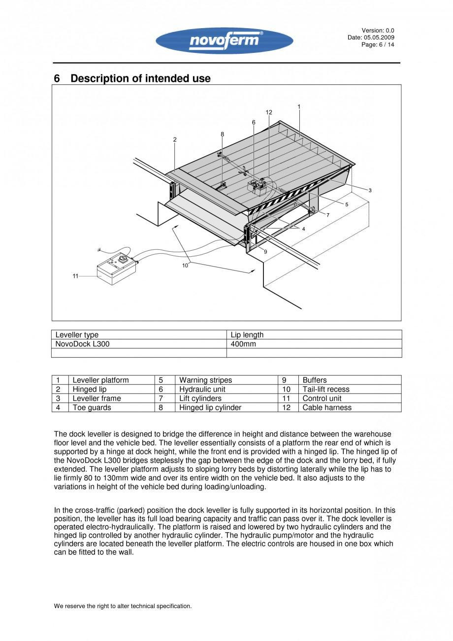 Pagina 6 - Rampe de incarcare, descarcare - Manual de operare NOVOFERM NovoDock L300 Instructiuni...