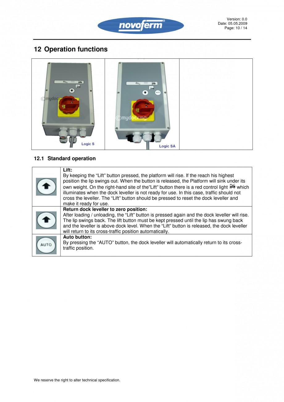 Pagina 10 - Rampe de incarcare, descarcare - Manual de operare NOVOFERM NovoDock L300 Instructiuni...