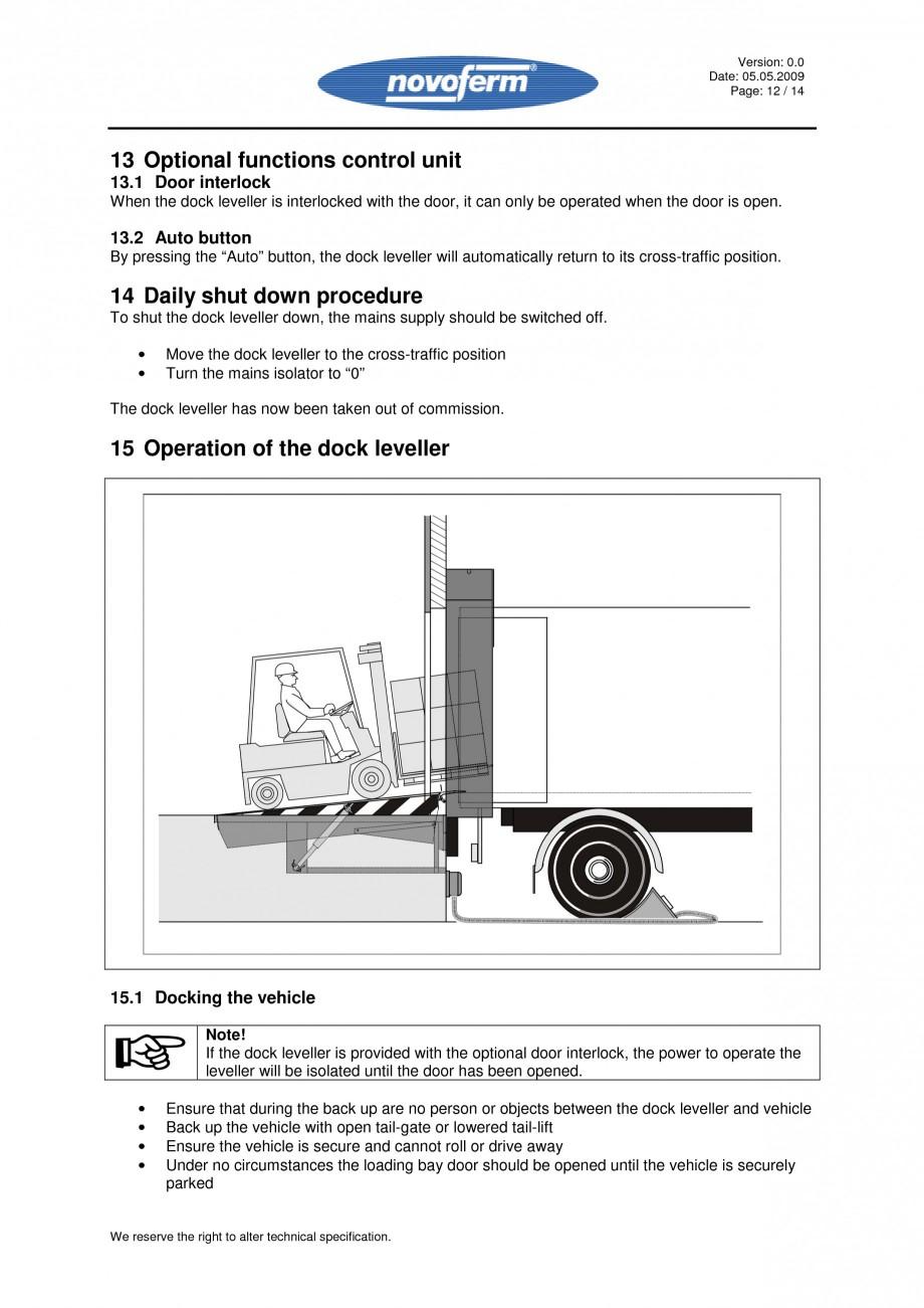 Pagina 12 - Rampe de incarcare, descarcare - Manual de operare NOVOFERM NovoDock L300 Instructiuni...