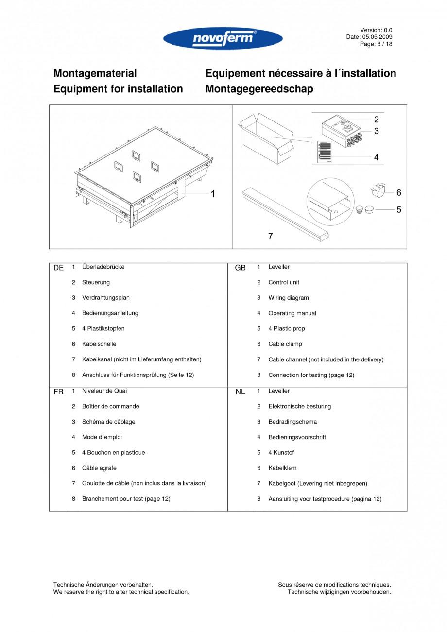 Pagina 8 - Rampe de incarcare, descarcare  NOVOFERM NovoDock L300 Instructiuni montaj, utilizare...
