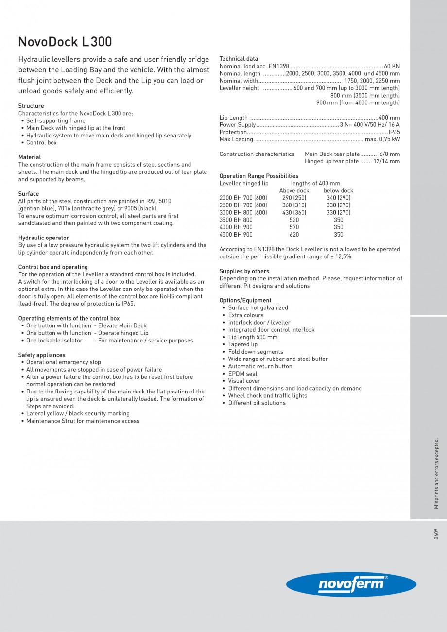 Pagina 2 - Rampe de incarcare, descarcare NOVOFERM NovoDock L300 Fisa tehnica Engleza ck). To ensure...