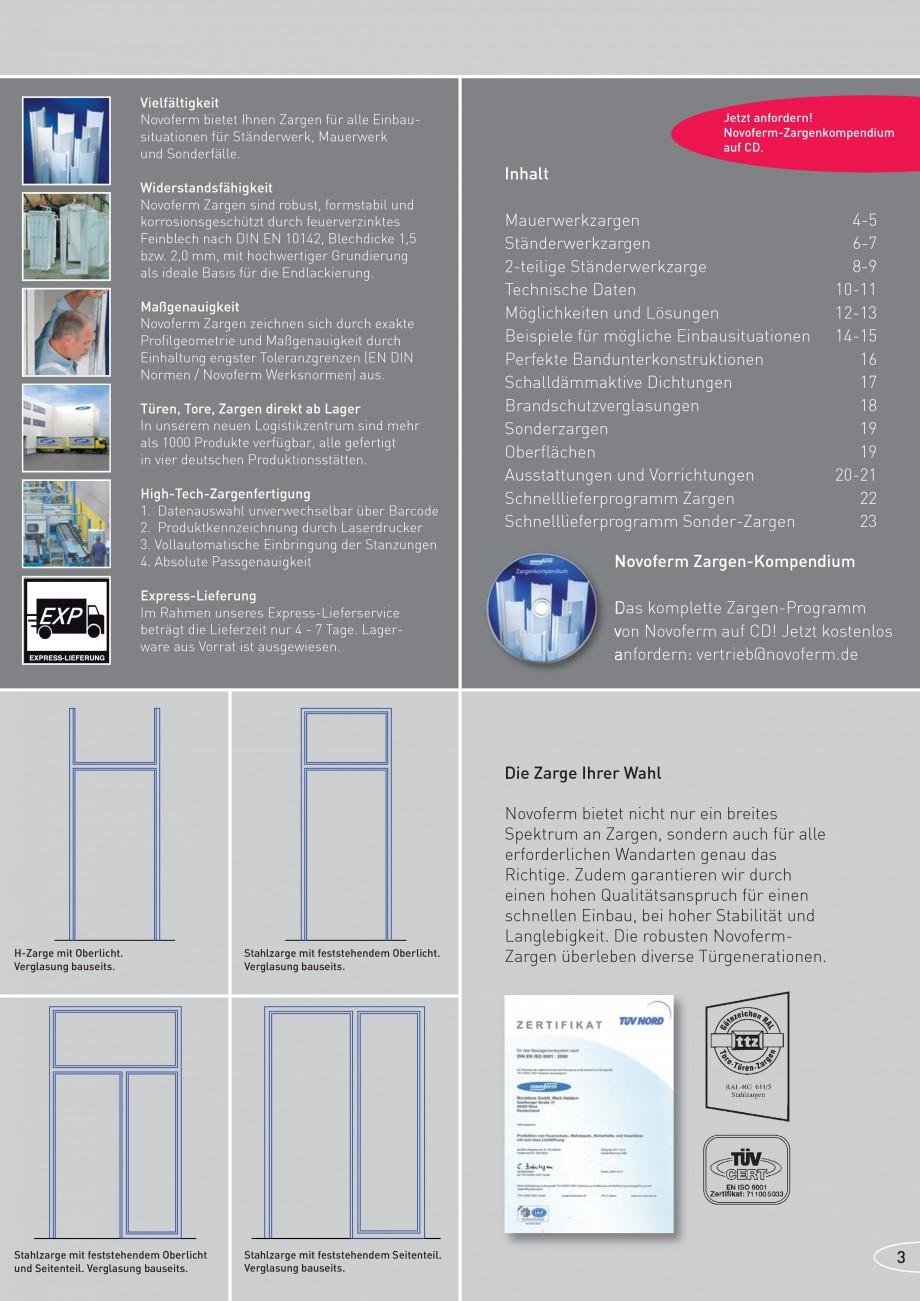 Pagina 3 - Caracteristicile tehnice pentru usile rezistente la foc NOVOFERM Fisa tehnica Germana en ...