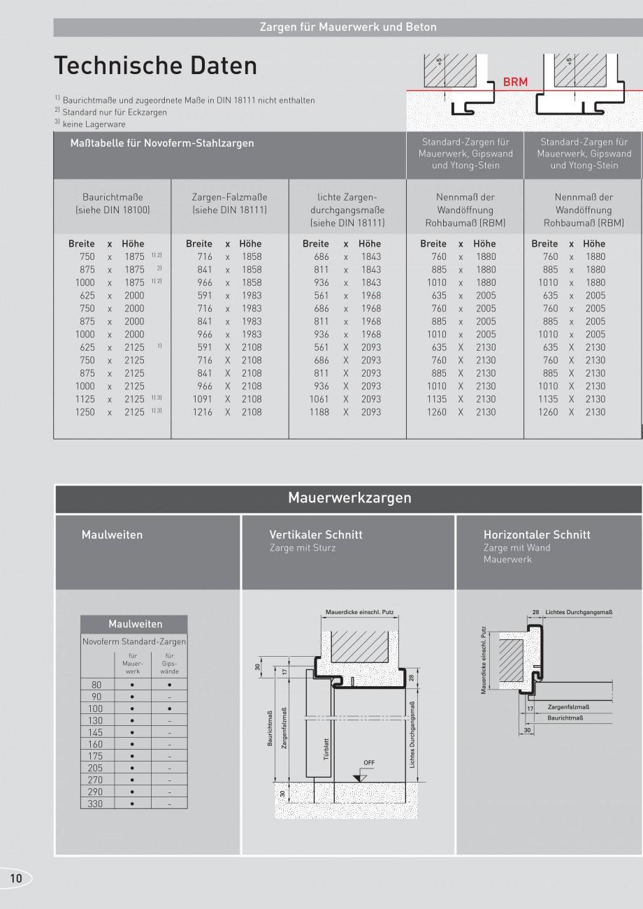 Pagina 10 - Caracteristicile tehnice pentru usile rezistente la foc NOVOFERM Fisa tehnica Germana ...