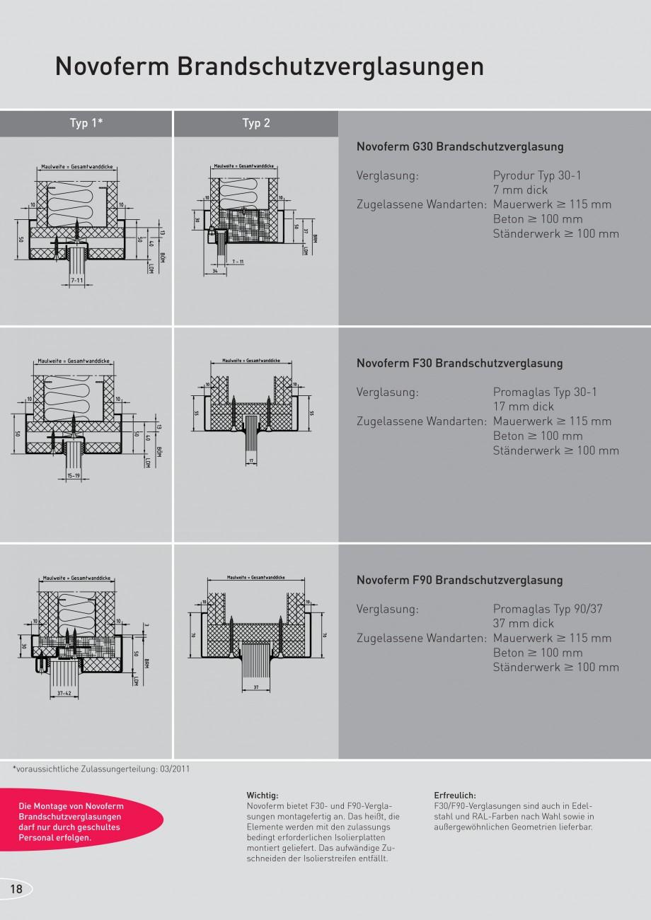 Pagina 18 - Caracteristicile tehnice pentru usile rezistente la foc NOVOFERM Fisa tehnica Germana ...