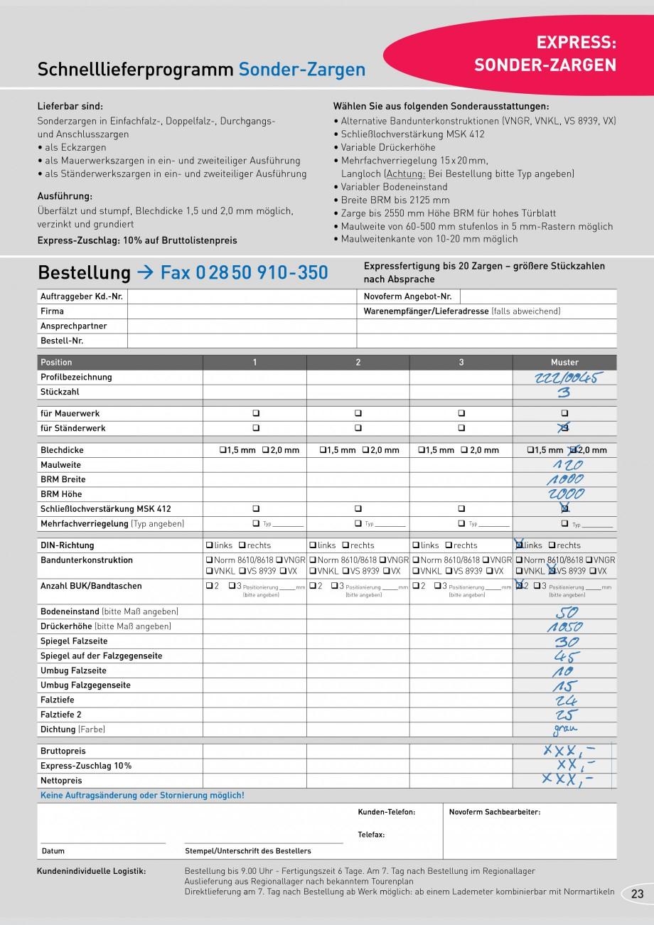 Pagina 23 - Caracteristicile tehnice pentru usile rezistente la foc NOVOFERM Fisa tehnica Germana 6 ...