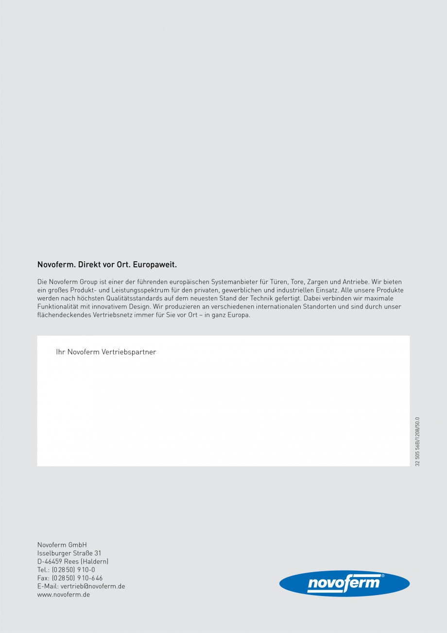 Pagina 36 - Usi rezistente la foc NOVOFERM T30, T90, MZ Fisa tehnica Germana  Tür  Modelle ...