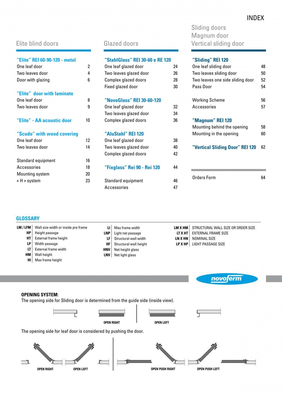 Pagina 1 - Usi rezistente la foc NOVOFERM Elite , Scudo, Novoglass, Magnum , Stahlglass Fisa tehnica...