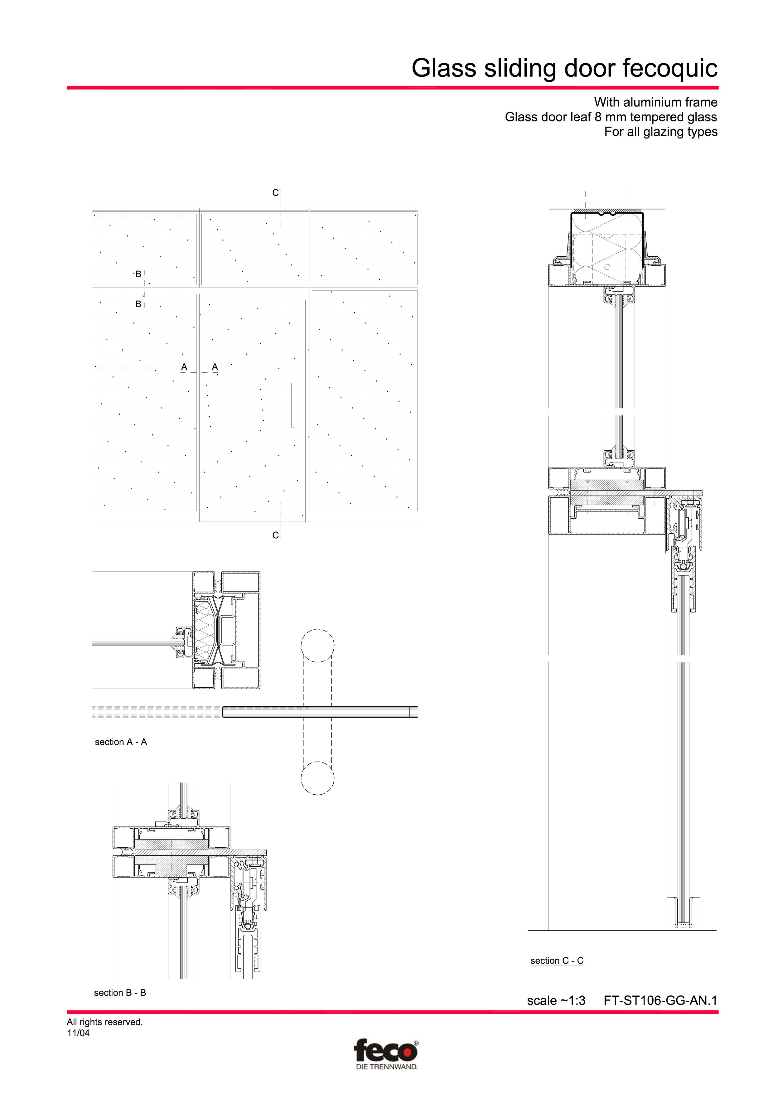 Pagina 1 - CAD-PDF Usa de sticla glisanta FECO Detaliu de montaj FecoFix, FecoPur, FecoCent, FecoLux...