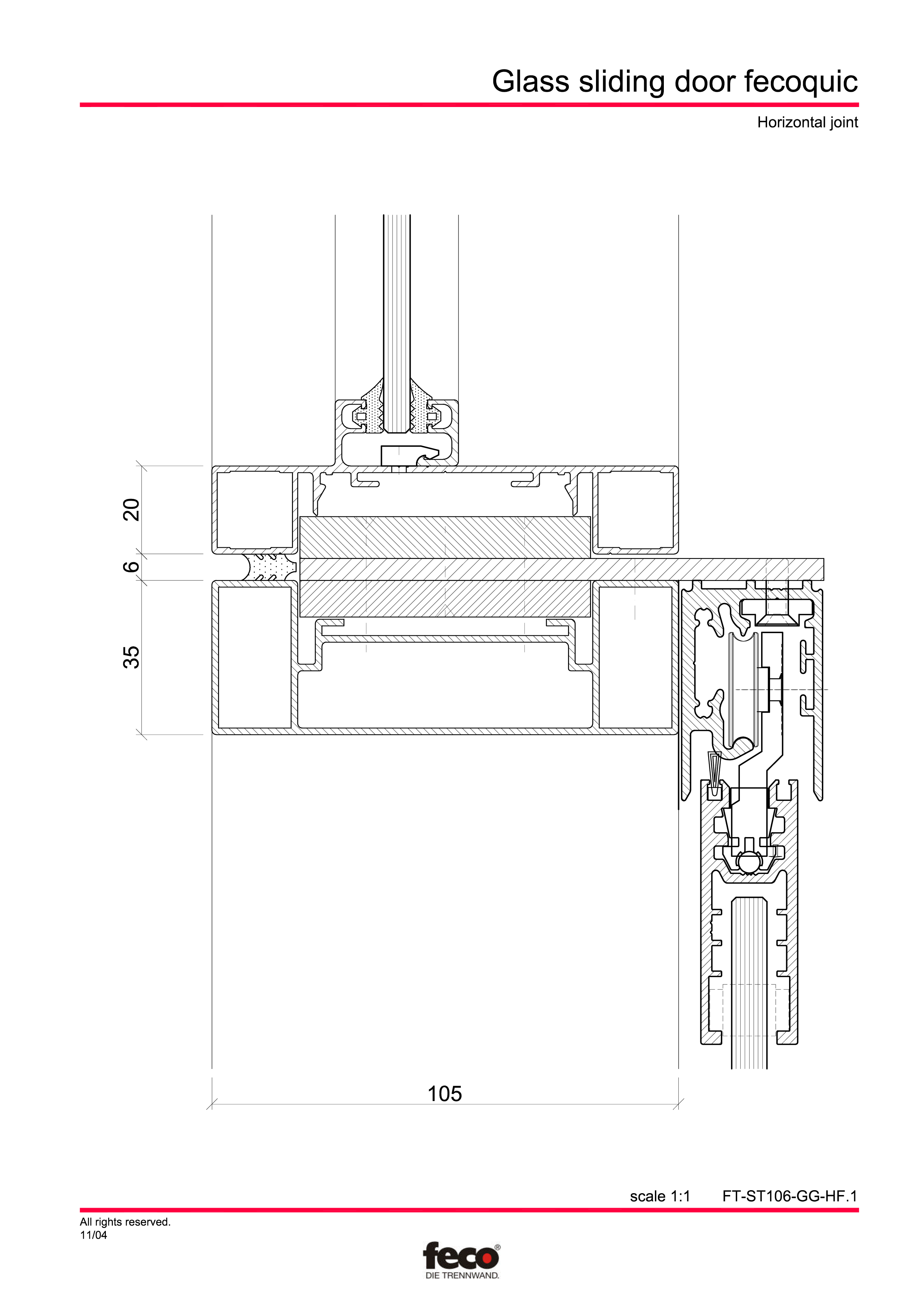 Pagina 2 - CAD-PDF Usa de sticla glisanta FECO Detaliu de montaj FecoFix, FecoPur, FecoCent, FecoLux...