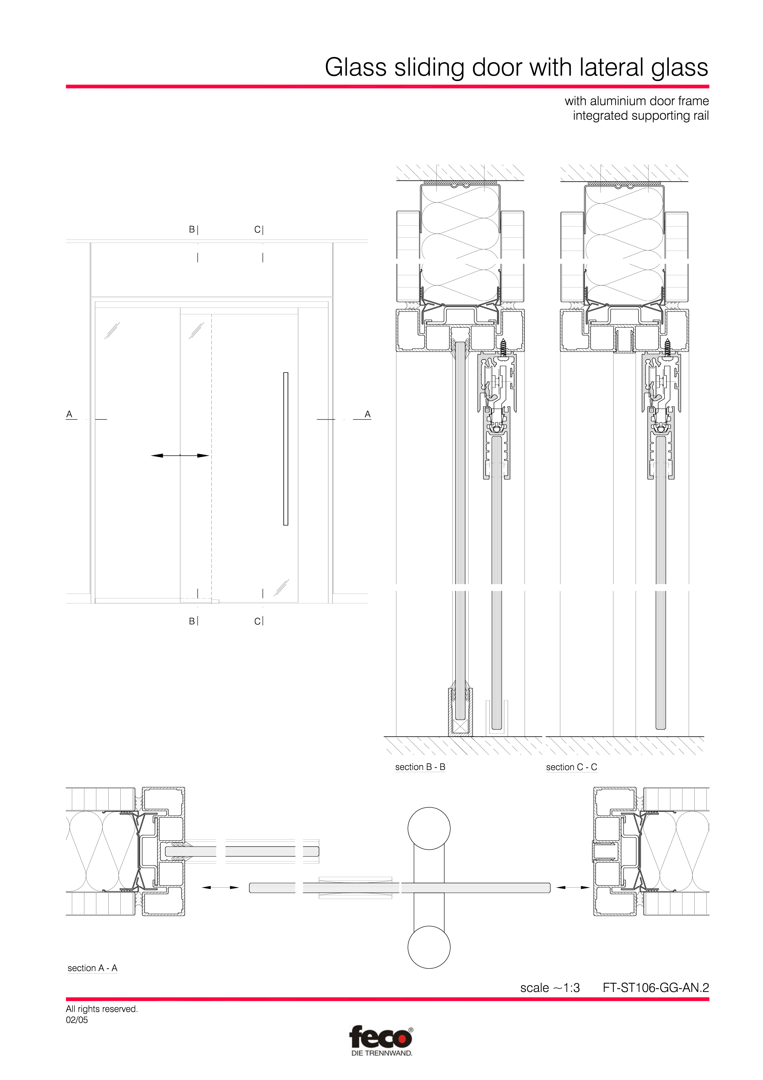 Pagina 3 - CAD-PDF Usa de sticla glisanta FECO Detaliu de montaj FecoFix, FecoPur, FecoCent, FecoLux...
