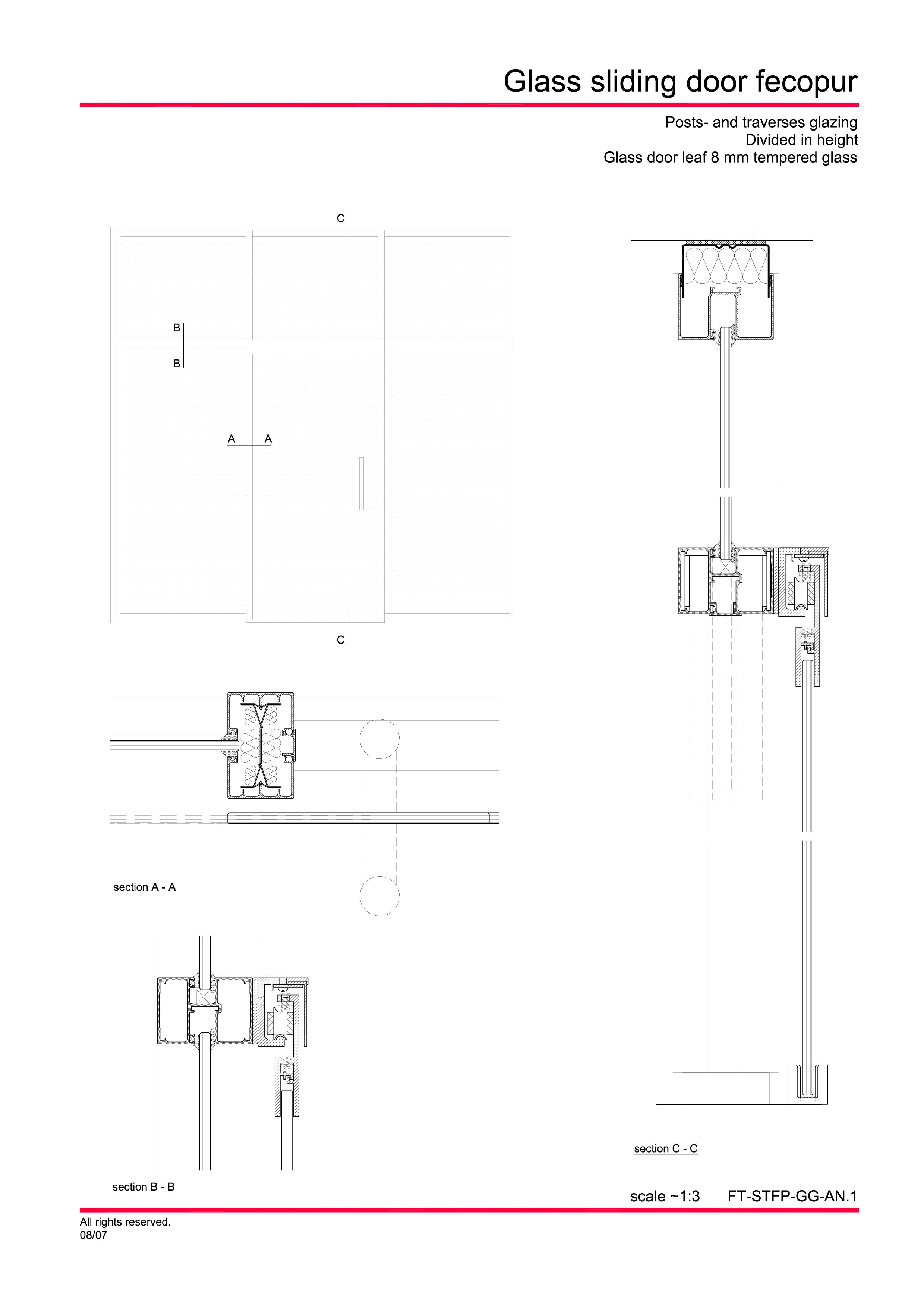Pagina 4 - CAD-PDF Usa de sticla glisanta FECO Detaliu de montaj FecoFix, FecoPur, FecoCent, FecoLux...